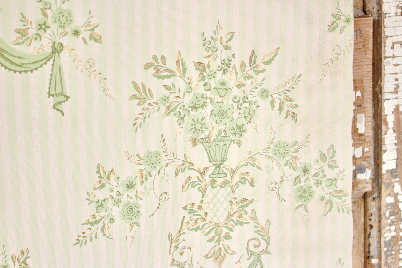 Shabby Chic Vintage Home Decor Gold Metallic Floral Print Etsy