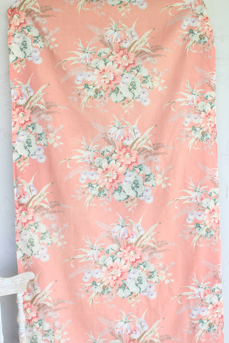 1930s 1940s 30s 40s Vintage Pink Cabbage Rose Floral Coral Drapes Drapery Panel Panels Curtains