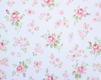 Antique Pink Cabbage Roses 1940s 40s Vintage Floral Pattern Wallpaper
