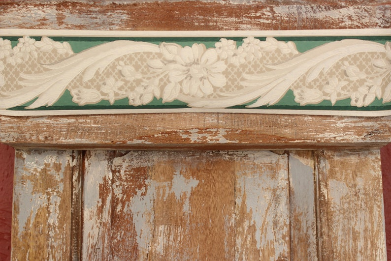 SHABBY CHiC Home Decor ~ Neoclassical Scrolled Floral Print ~ Gray Cream Turquoise  30s 40s Vintage Wallpaper Border Roll COTTAGE CHiC DECOR