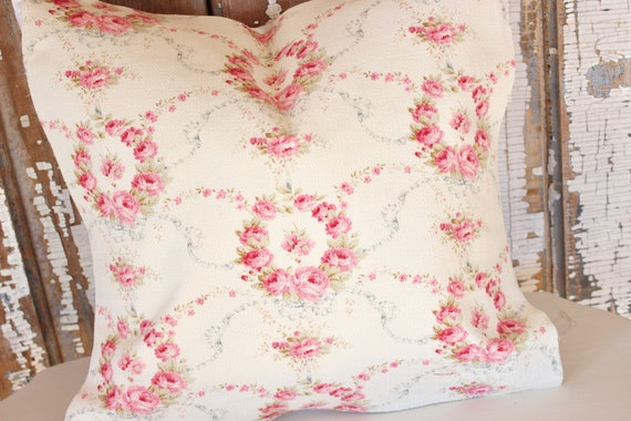 Shabby Chic Pillow Cover French Rococo Floral Pink Roses Etsy