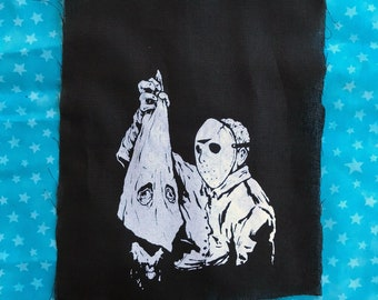 ANTIFA Friday the 13th mashup PATCH Jason inspecting the severed head of a Klan member