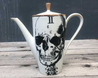 """Coffee pot """"Skeleton"""" made of porcelain with gold rim and hand-printed screen print motifs"""