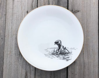 """1 plate, porcelain, """"hippo"""", ca 20cm, white/beige, highquality vintageporcelain with handmade silkscreen print; table or wall"""