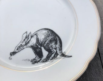 """Porcelain plate """"afervark"""", ø approx. 21 cm vintage tableware with gold rim and hand-printed motif for your own home or as a present!"""