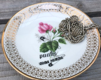 """Jewelry bowls """"Punks not dead"""", porcelain floral, gold, hand-printed motifs; Gift for girlfriend, daughter, mother; Storage Jewelry"""