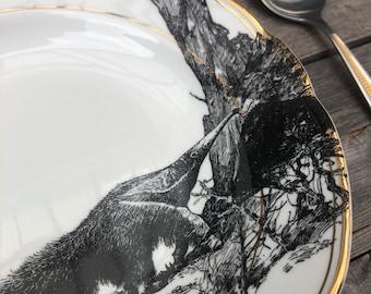 "porcelain plate, pasta-/soupbowl ""anteater"", handprinted motiv on vintage dishes white with goldrim, aprox. 24cm, present for familiy"