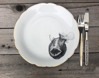 """plate """"latern fish"""", porcelain, approx. 24cm, handprinted Motiv; Gift for Familiy, Friends and Children"""