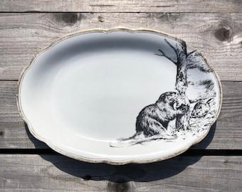 "Porcelainplatter ""Beaver"", approx. 20x30cm, vintage porcelain with goldrim and handprinted silkscreenprint motif"