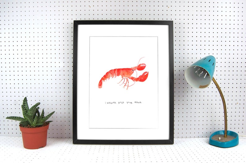 Lobster A4 Art Print  I wanna hold your hand  beautifully image 0