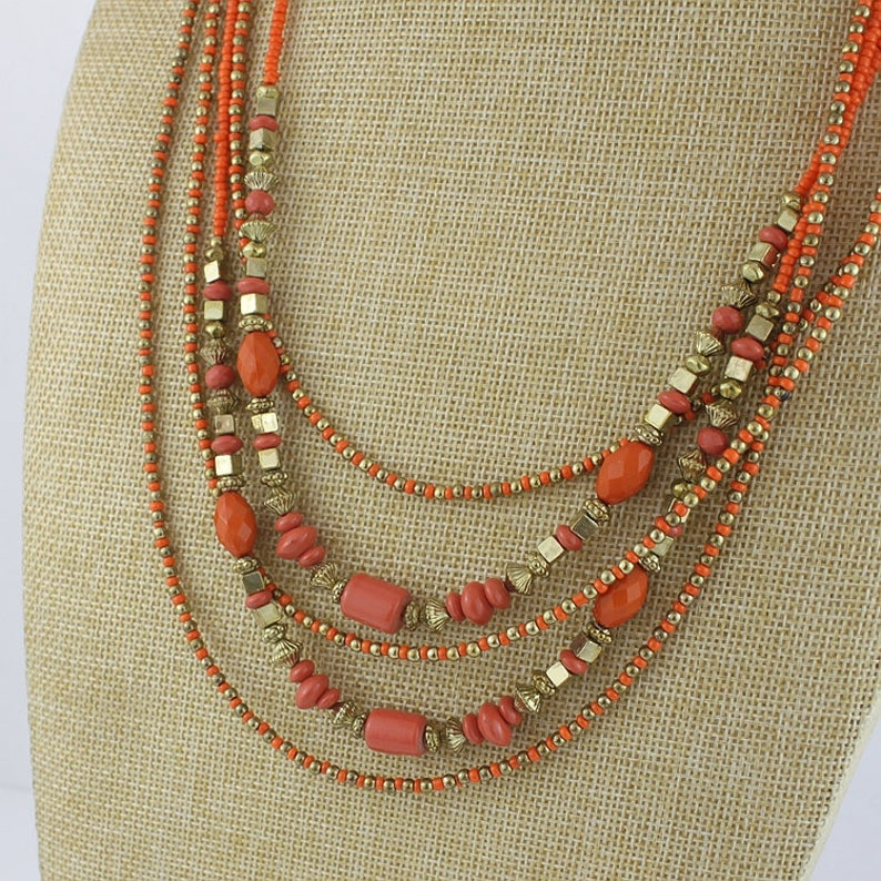 Layered Necklace Anniversary Gift  that has Layers Coral layered Necklace Gold Plated Necklace Aries and Scorpio Birthstone Gift