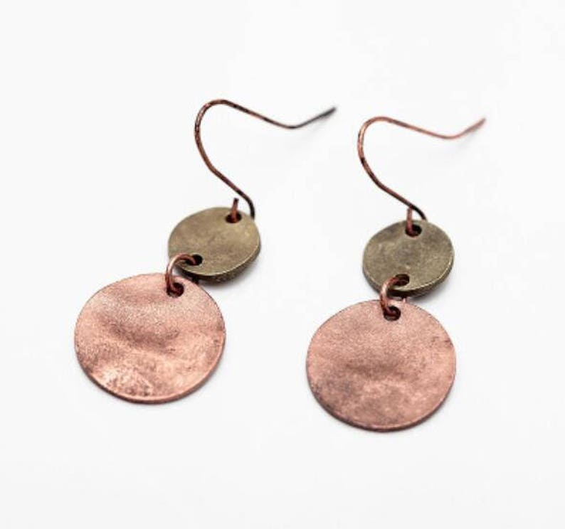 Vintage Brass Copper Small Circle Drop Earrings Hammered Brass Earrings 2018 New Earrings Unique Brass Earrings Valentine/'s Gift
