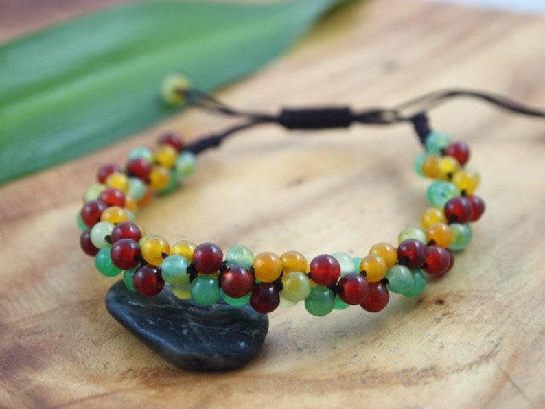 Positivity Bracelet Multicolor Jade Bracelet Genuine Jade Bracelet Unisex Jade Bracelet Real Jade Bracelet Colorful Bracelet For Women