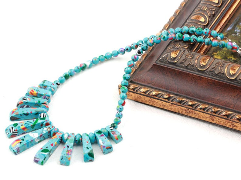 Turquoise Warrior Style Necklace Taiwanese Turquoise Warrior Style Necklace Turquoise Choker 2019 New Necklace Oct Birthstone Gift for Oct