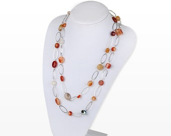 Agate Stone on Silver Long Layered Multi-Styled Necklace with Different Configurations Birthday Gift for September