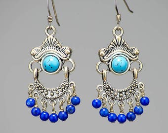 Lapis and Sleeping Beauty Turquoise Chandelier Earrings with Sterling Silver and Plated Components