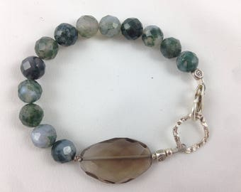 Faceted Moss Agate Rounds with Sparkly Smokey Quartz and Hammered Silver Accent