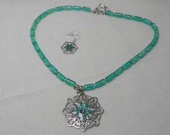 Lacy Aqua and Seamist Necklace Set
