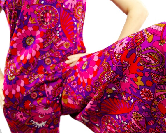 70s Psychedelic Floral Print Palazzo Pants Sleevel