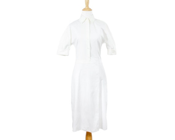 Prada Lightweight White Cotton Nurse Shirtdress w… - image 1