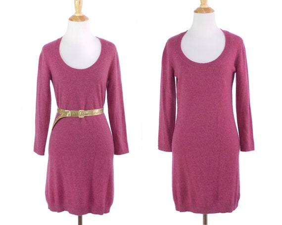 Hot Pink Cashmere Mini Cashmere Sweater Dress
