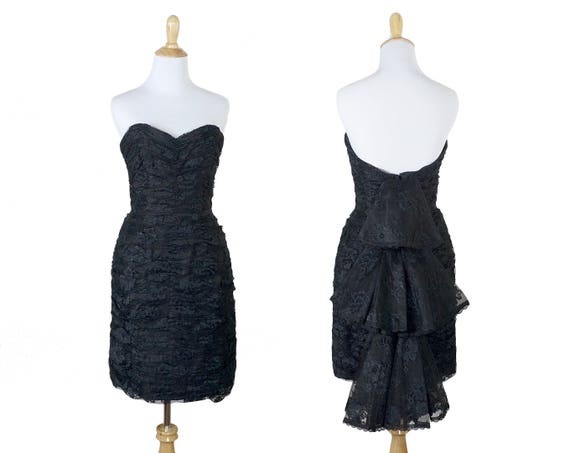80s Strapless Black Lace Victor Costa Bustle Dress