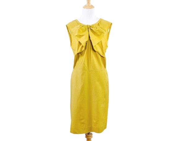 Marni Marigold Ochre Yellow Bow Dress in Silk Cott