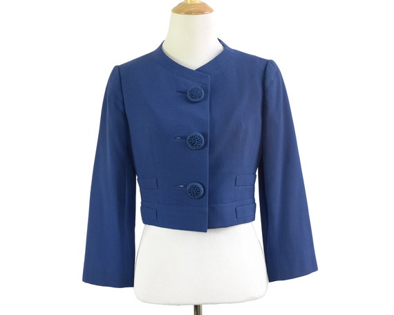 60s Blue Wool Cropped Jacket with Statement Button