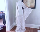 Sheer White Draped Lace Vintage Wedding Dress Art Deco Lace BoHo Hippie Beach Wedding Dress Womens Victorian LACE Angel Bell Sleeve Gown