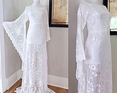 Vintage Lace Wedding Dress Sheer White Lace BoHo Hippie Beach Wedding Dress Women 39 s Victorian LACE Angel Bell Sleeve Bohemian Maxi Dress