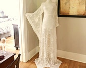 Vintage Lace Wedding Dress Sheer Cream Lace BoHo Hippie Wedding Dress Women 39 s Victorian LACE Angel Bell Sleeve Maxi Dress