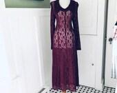 Vintage 90s Sheer lace dress Burgundy BoHo Lace Hippie Dress Women 39 s Sheer LACE Long Sleeve HIPPIE Wedding Maxi Corset Dress Size Small