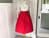 Vintage Red Skirt 60s Womens Pleated Full Skirt I Love Lucy Mad Men Secretary Skirt Red Rockabilly Circle Skirt Theater Costume