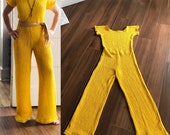 Vintage Crochet JUMPSUIT 70s Yellow Jumpsuit 1970s Hippie KNIT Bell Bottom Women 39 s Boho Romper Wide Leg retro 60s 70s Disco One Piece