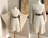 Bell Sleeve Vintage 70s Cream Crochet BoHo wedding Mini dress Hippie Desert Wedding Dress 1970s Sheer LACE Angel Sleeve MiNi Festival Dress