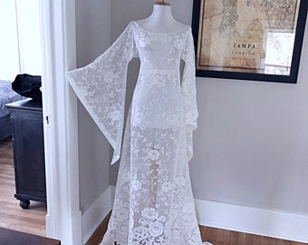 29f20238750 Vintage 70s White Sheer Lace Hippie Wedding Dress