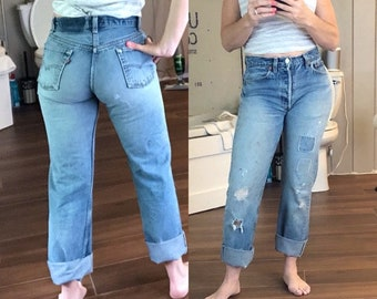 85c0a74731b Vintage Levis 501 Jeans | Ripped Distressed Levis Jeans with Holes &  Patches | 80s 90s High Waist Blue Redone Restructured Straight Levis 28