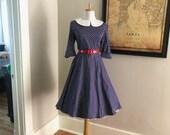 Womens Polka Dot Dress Vintage Womens Navy Blue Polka Dot Dress 50s 60s Full Skirt Shirt Dress I love Lucy Rockabilly Mad Men Costume