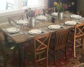 Vintage Farmhouse Table Farmtable - Rustic Reclaimed Barn Wood Beam 7 ft Dining Room Kitchen Farm Table Decor Magnolia Fixer Upper