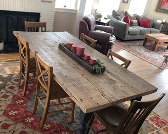 f23be6322edf5 Farmhouse Table Farmtable - Custom Rustic Reclaimed Barn Wood 7 ft Dining  Room Vintage Kitchen Farm Table Decor Magnolia Fixer Upper