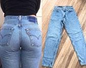Vintage High Waisted Trousers, Sailor Pants, Jeans Vintage Levis Jeans  Straight Tapered Levis Jeans  80s 90s High Waist LEVIS  Light Blue Redone Restructured Mom Boyfriend Jeans W 26 $54.95 AT vintagedancer.com