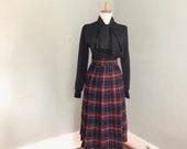 Vintage Plaid Skirt Womens 60s Plaid Full Skirt 1960s Retro I Love Lucy Mad Men Secretary Rockabilly Costume Pleated Kilt Skirt Small