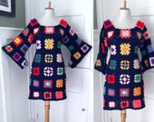 Vintage 70s Granny Square Dress BoHo Hand Knit Crochet Angel Bell Sleeve HIPPIE Rainbow Mini Afghan Festival 1970s Grannysquare Dress