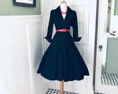 Vintage Womens Black Dress 50s Style Womens Black Shirt Dress Women 39 s Cotton Full Skirt Day Dress Mad Men Lucy Costume Shirtdress