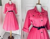 Vintage 50s 80s Pink Shirt Dress Women 39 s Cotton Full Skirt Day Dress Mad Men I Love Lucy Costume Rockabilly Shirtdress Dress
