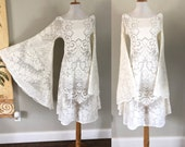 Cream Lace Wedding Dress Vintage BoHo Bride Hippie Wedding Festival Dress Sheer Cream White Crochet LACE Angel Bell Sleeve Dress L