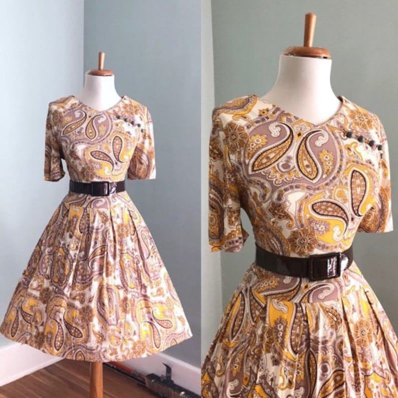 614226ef53c4b Vintage 50s Dress | 1950s 60s Yellow Paisley Shirt Dress | Short Sleeve  Full Skirt Day Dress | Mad Men I Love Lucy Costume Rockabilly Dress