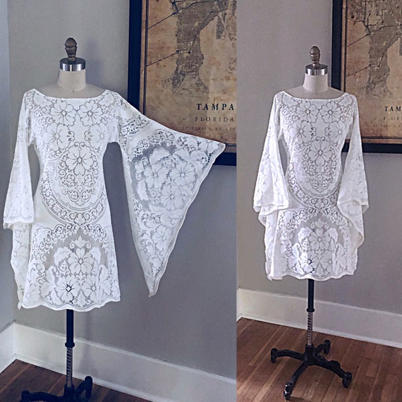 Vintage Short White Lace Hippie Wedding Elopment D