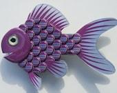 Goldfish Art Metal BottleCap Purple Fish Wall Art - GRAPE SODA Nugrape Bottlecap Art