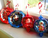 Vintage Shinybrite Jewelbrite 1950s Christmas Ornament Set Santa and Mrs Claus Prism Jewel Red Silver Blue